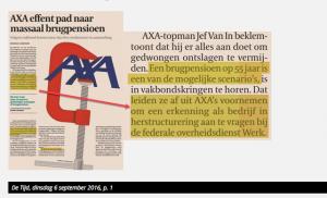 Waarom Axa vraagt erkend te worden als onderneming in herstructurering